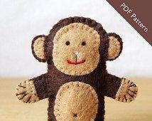 Pattern, felt finger puppet pattern, monkey finger puppet pattern