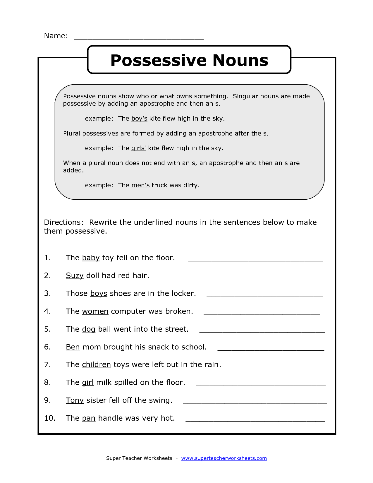 Possessive Noun Practice Worksheets - english teaching worksheets ...