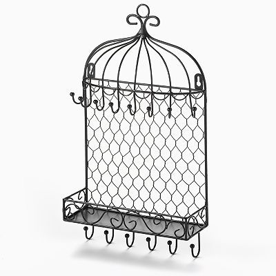 Black Bird Cage Wall Hanging Jewelry Organizer Home Pinterest