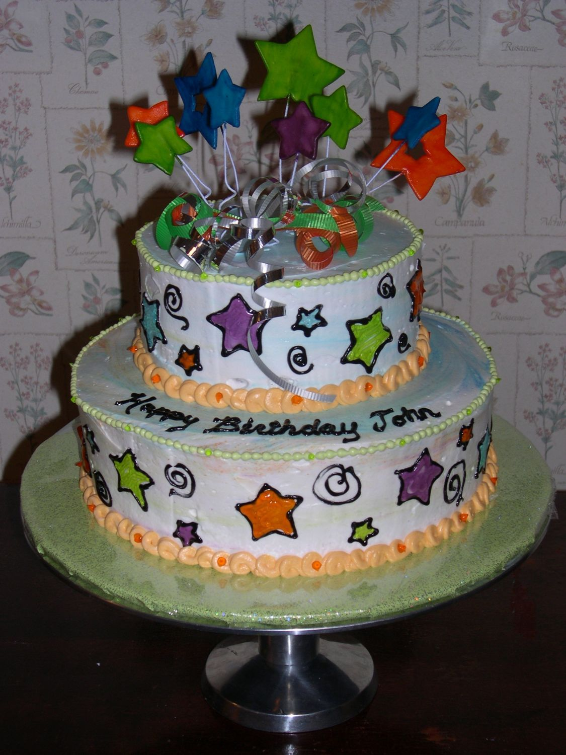 how to make two tier cake with fondant