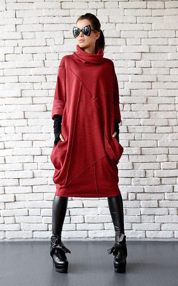 Rote lose Tunika/Oversize rot Kleid/rot Maxi Kleid/Langarm Winter Kleid/rot Polo Kleid/Plus Größe Maxi Kleid/Long Tunika Top/rot Tunika #maxidress