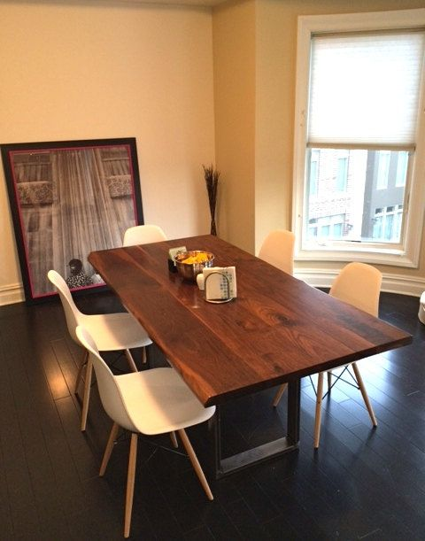 Large Dining Table Walnut Industrial Steel Basewickedboxcar Brilliant Big Dining Room Tables Decorating Design