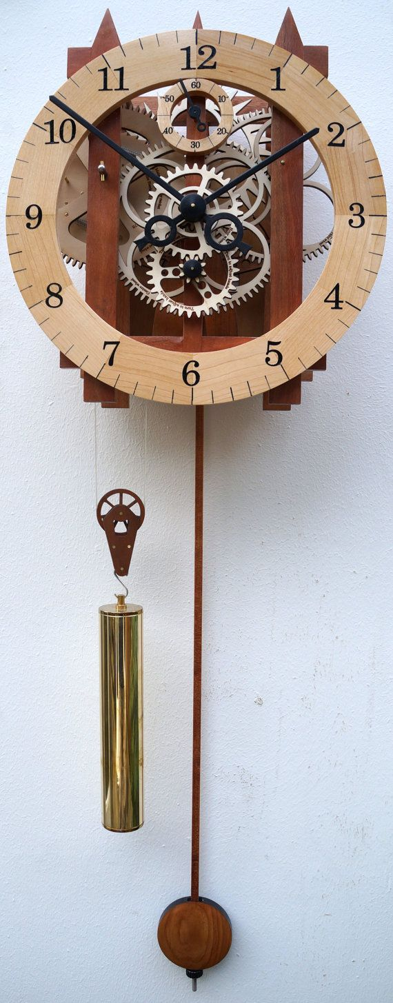 Large Wooden Mechanical Skeleton Wall Clock With Pendulum. Weight Driven.  Wooden Gears.