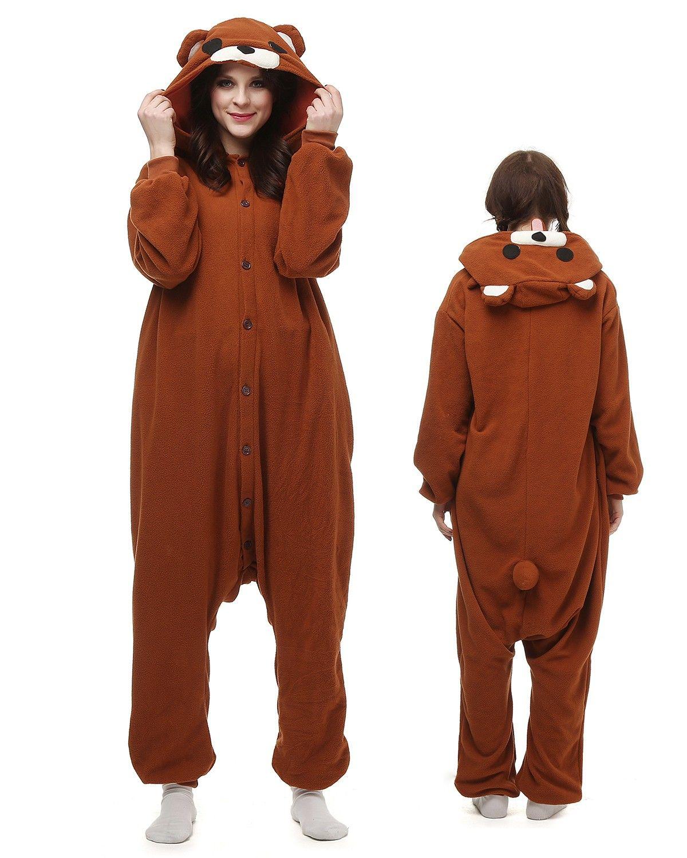 a62d52787b9a Brown Bear Kigurumi Onesie Pajamas Polar Fleece Animal Unisex Costumes