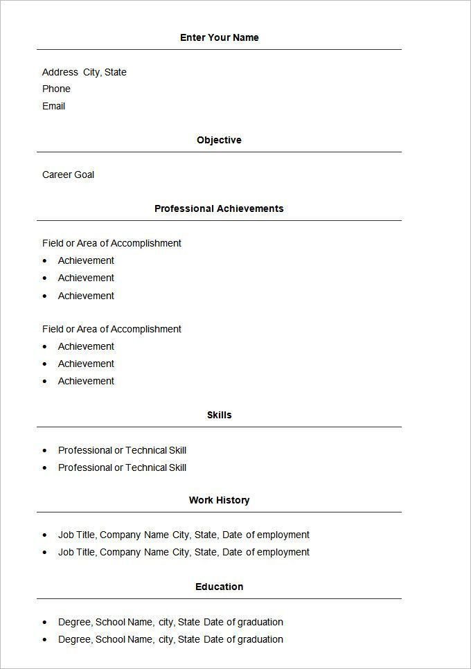 Basic Resume Template Free Samples Examples Format Download Templates Basic Resume Job Resume Template Basic Resume Format
