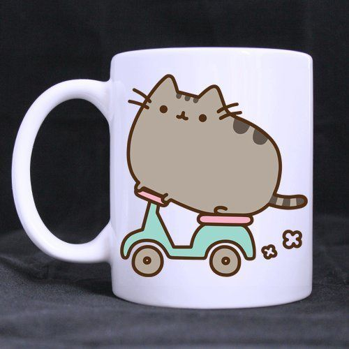 Cute Cat Ride A Bike Custom Personalized Coffee Mugs Beer Mug White Ceramic Water Cups Office Home Cup 11 OZ Two Sides Printed