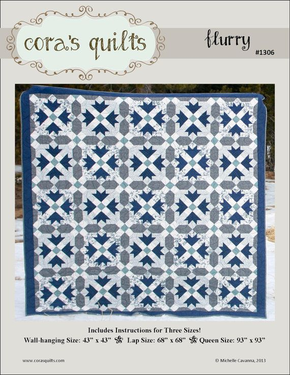 Flurry pdf Quilt Pattern by Cora's Quilts 1306 by CorasQuilts $8.00 7 fabrics used (hers from ConnectingThreads.com)