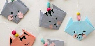 basteln kindern origami katze papier ausschneiden wanddeko. Black Bedroom Furniture Sets. Home Design Ideas