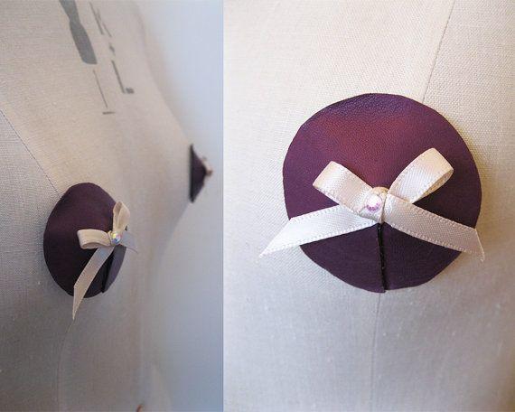 Purple real leather nipple pasties/tassels