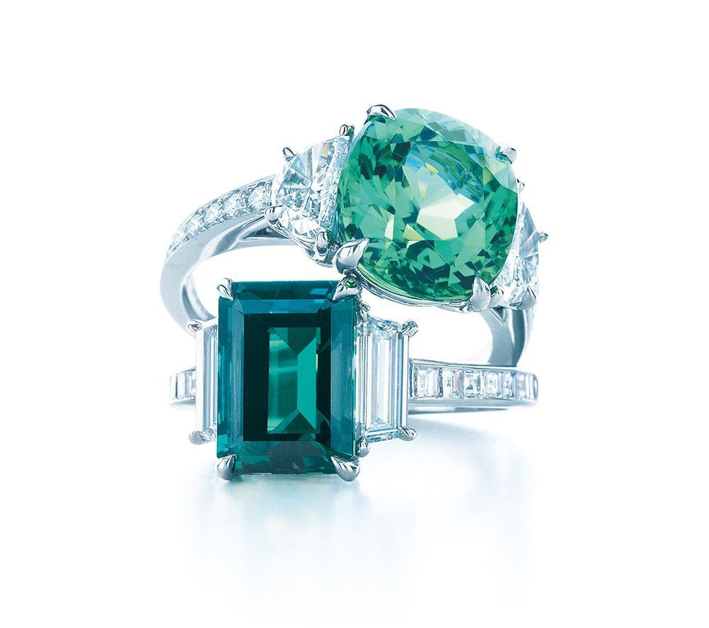 3473299d935b8 Tiffany & Co diamond and gemstone rings in platinum, set with a ...