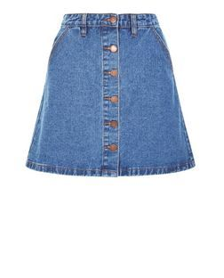 Blue Button Front Denim A-Line Skirt | New Look | HOLIDAY OUTFITS ...