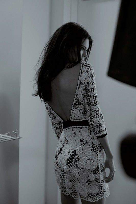 Kendall Jenner in backless lace backstage at Diane von Furstenberg SS15 NYFW