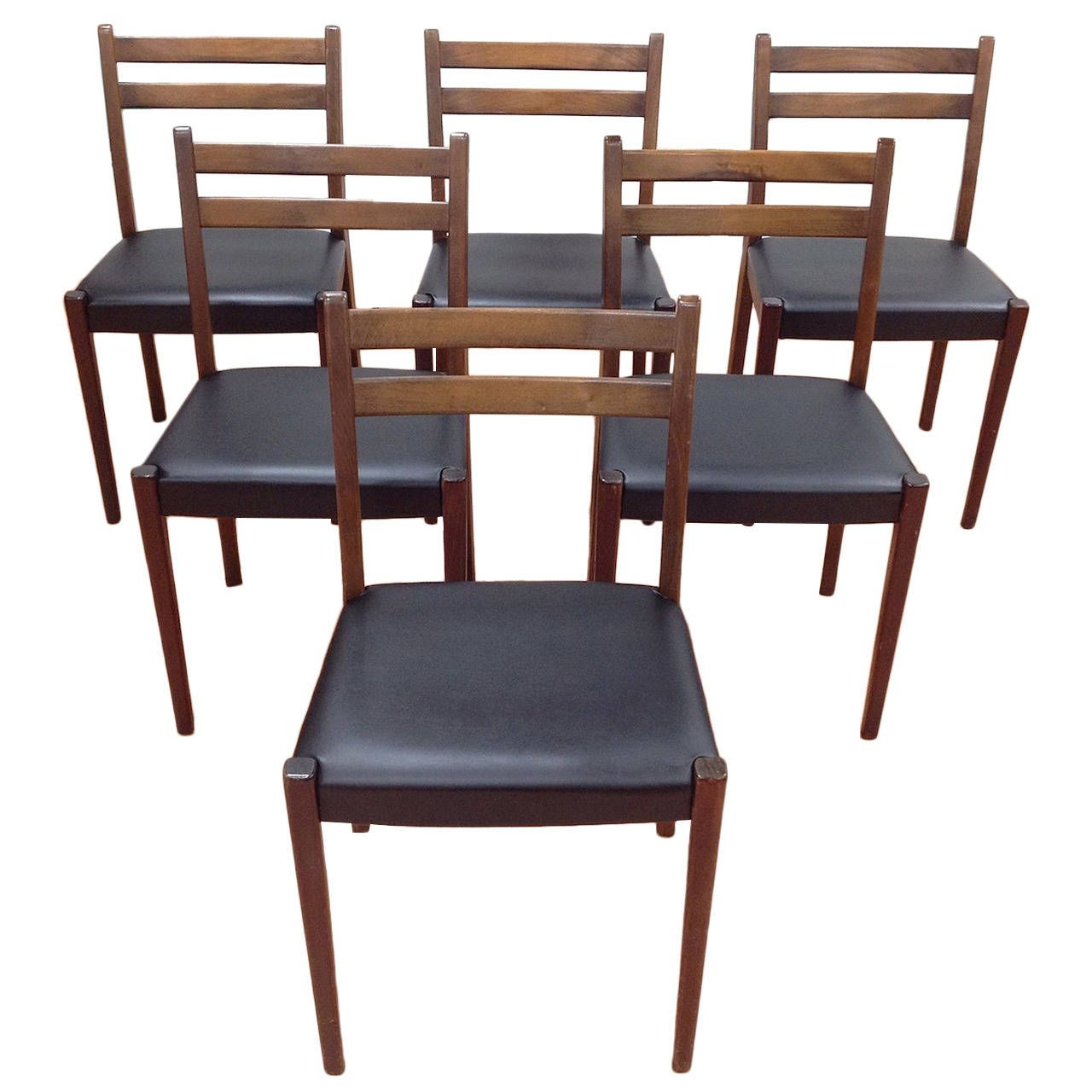 Set Of Six Danish Modern Dining Chairs, Made In Sweden By