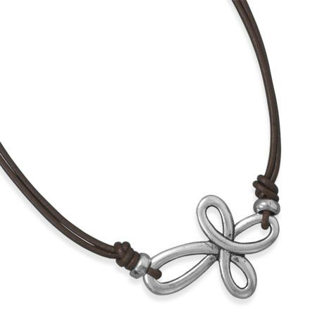 "16"" double strand brown leather necklace with a 28mm x 37mm sideways pewter cross pendant. The necklace has a hook style closure"