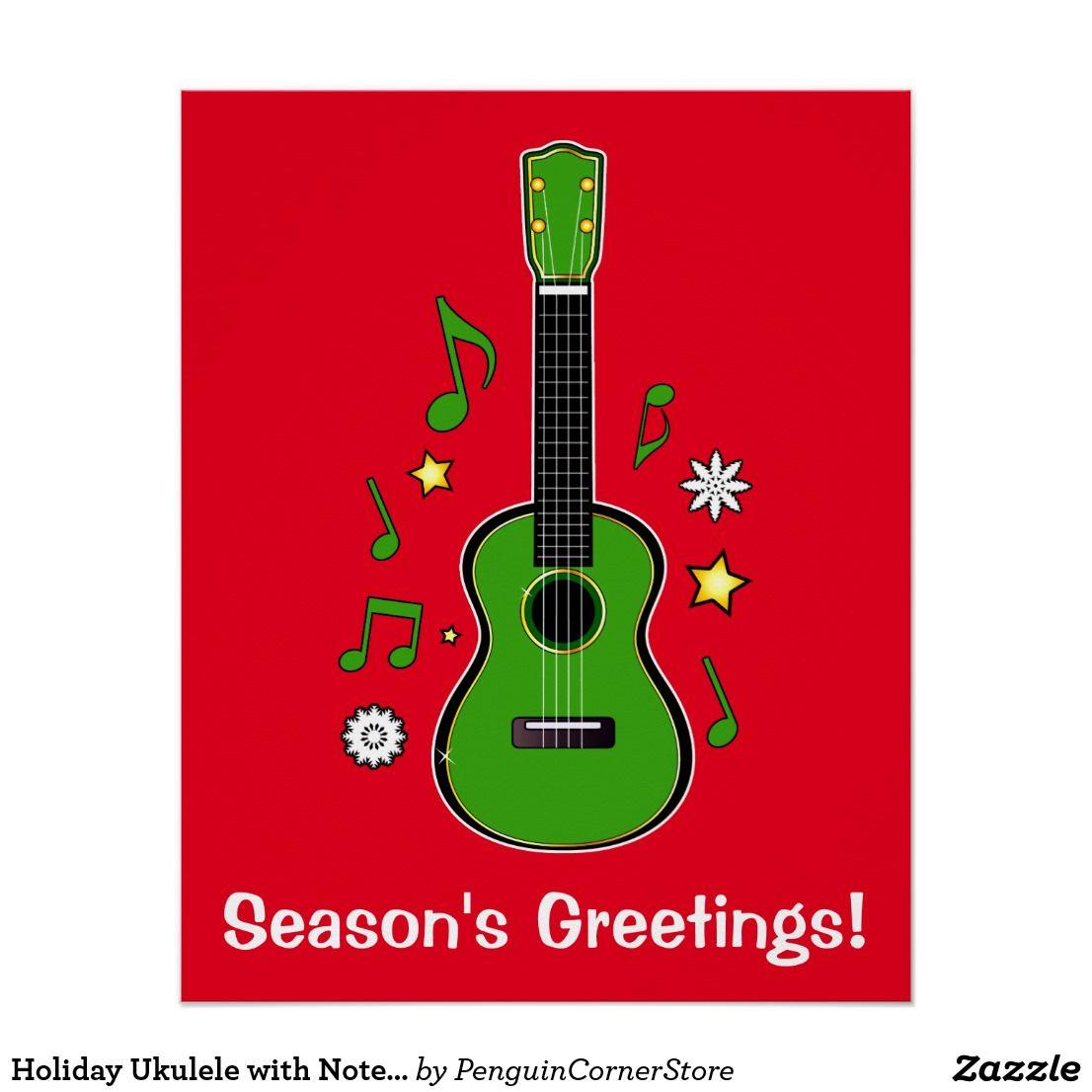 Holiday Ukulele With Notes And Stars Poster Zazzle Com Custom Holiday Card Ukulele Create Your Own Card