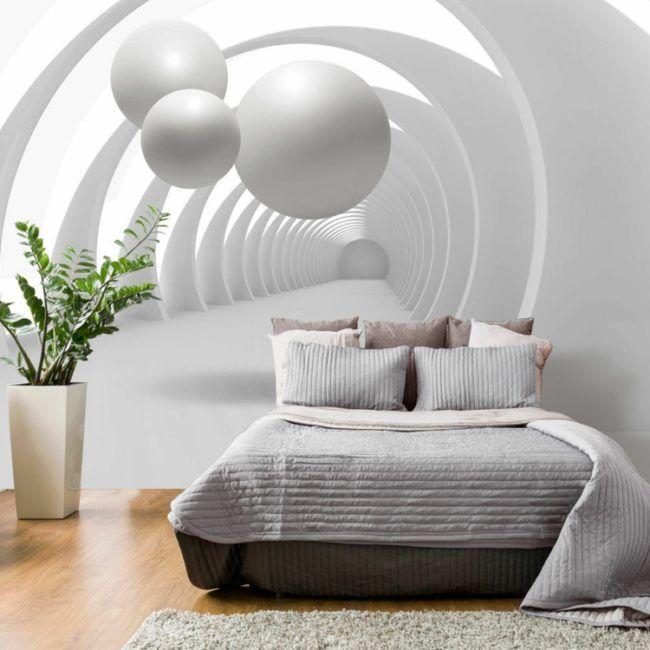 wand mit fototapete schlafzimmer-idee-modern-minimalistisch-weiß - minimalismus schlafzimmer in weis