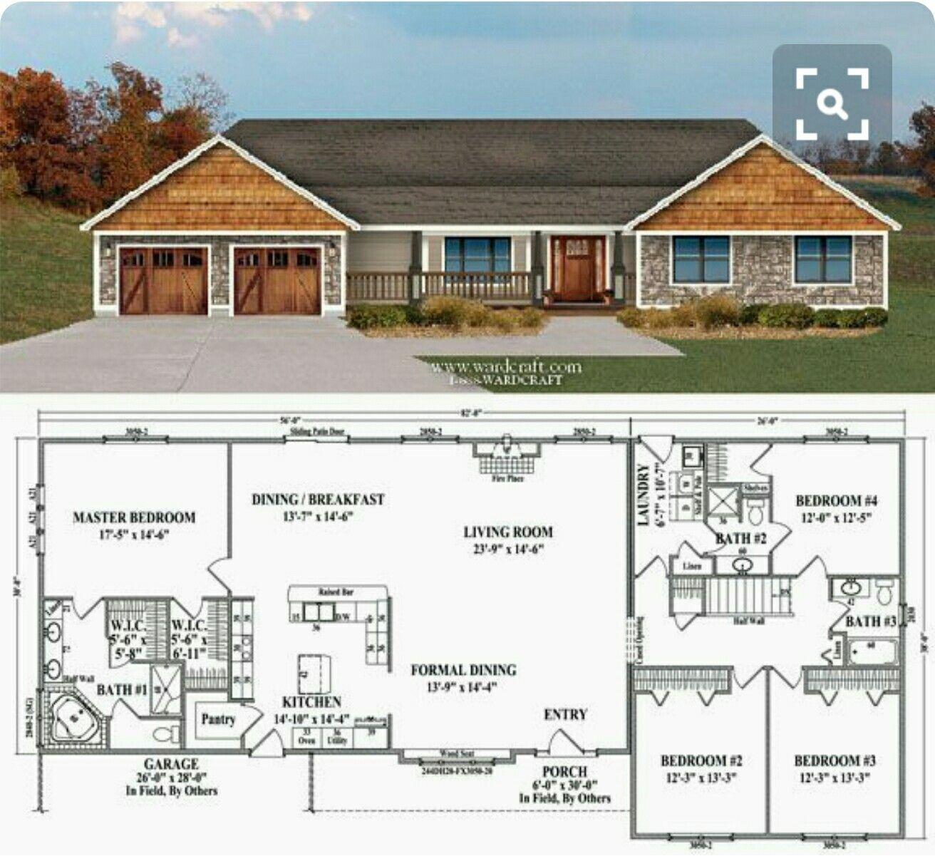 This One Has Everything I Want Even Bathroom For Kara Give Me The Porch Is Perfect Tub In Corner New House Plans Ranch House Plans Floor Plans Ranch