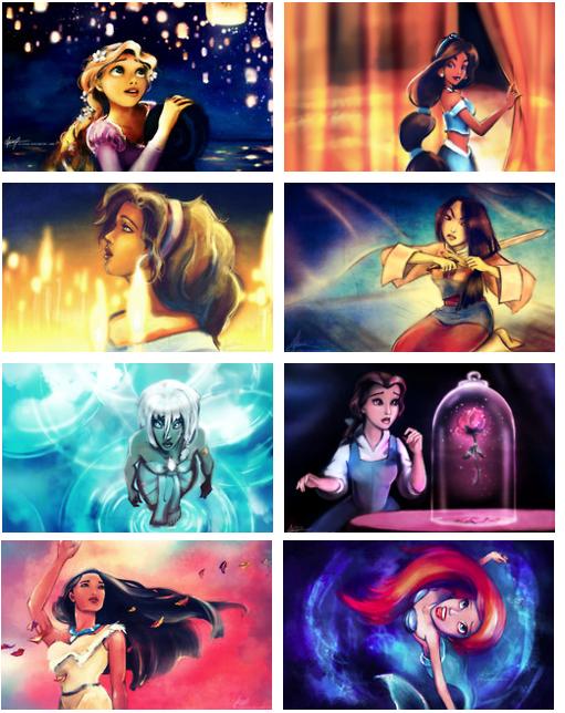 Dramatic Disney Princesses Watercolor