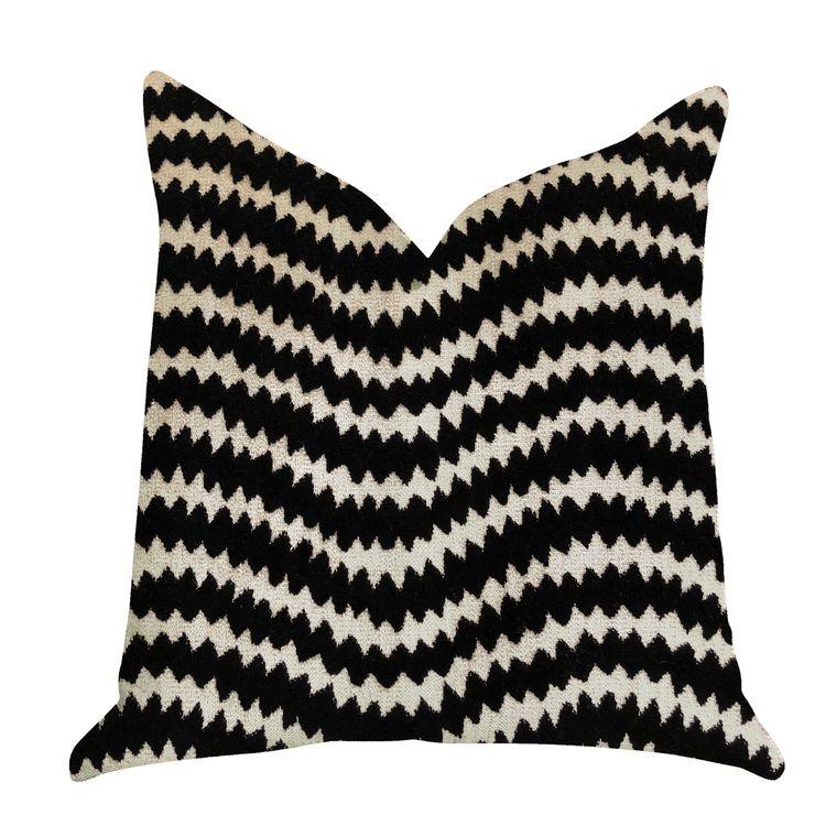 Plutus Brands Jagged Fringe Luxury Throw Pillow in Black and Beige - Plutus Brands - PBRA1377-1616-DP