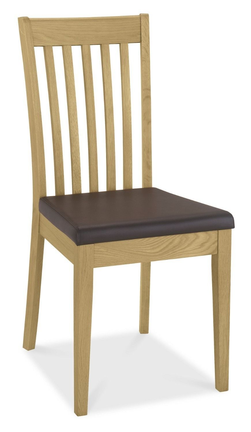 Shaker Oak Slatted Dining Chair - Brown Faux Leather Seat Pad (Pair ...