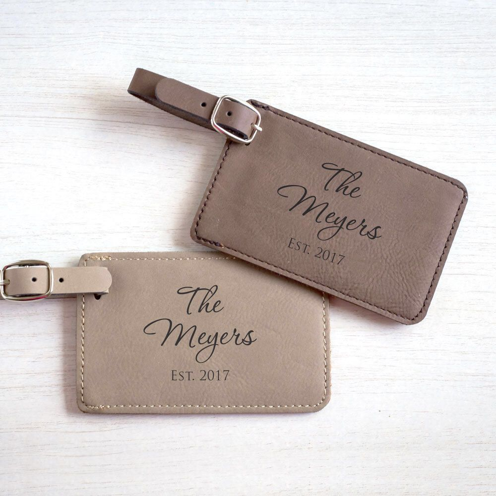 Pair Of Custom Wedding Luggage Tags Personalized Bride Groom Anniversary Travel Gift