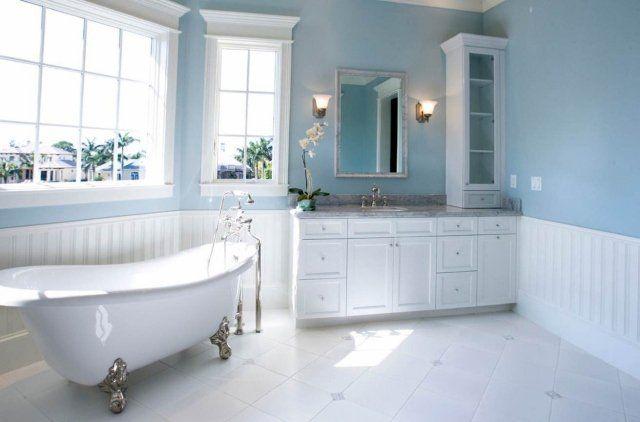 Peinture salle de bains \u2013 24 idées de murs en deux couleurs