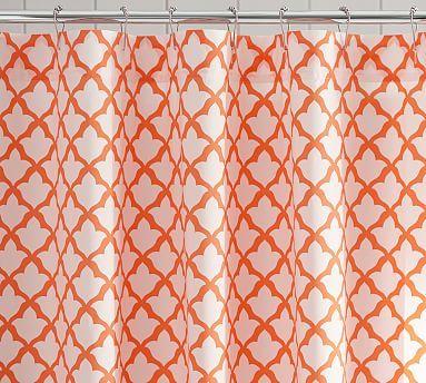 Marlo Organic Shower Curtain 72 Inches Clementine White Fabric