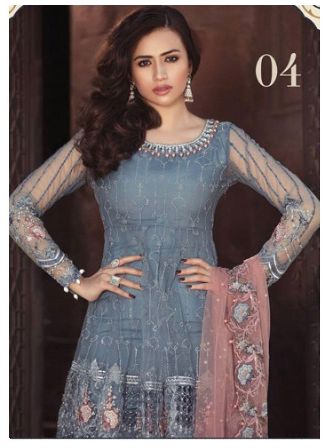 3e1f0eb1d3 Maria B Embroidered Chiffon Unstitched 3 Piece Suit MB18E 04 - Eid  Collection by SammyFabrics on Etsy