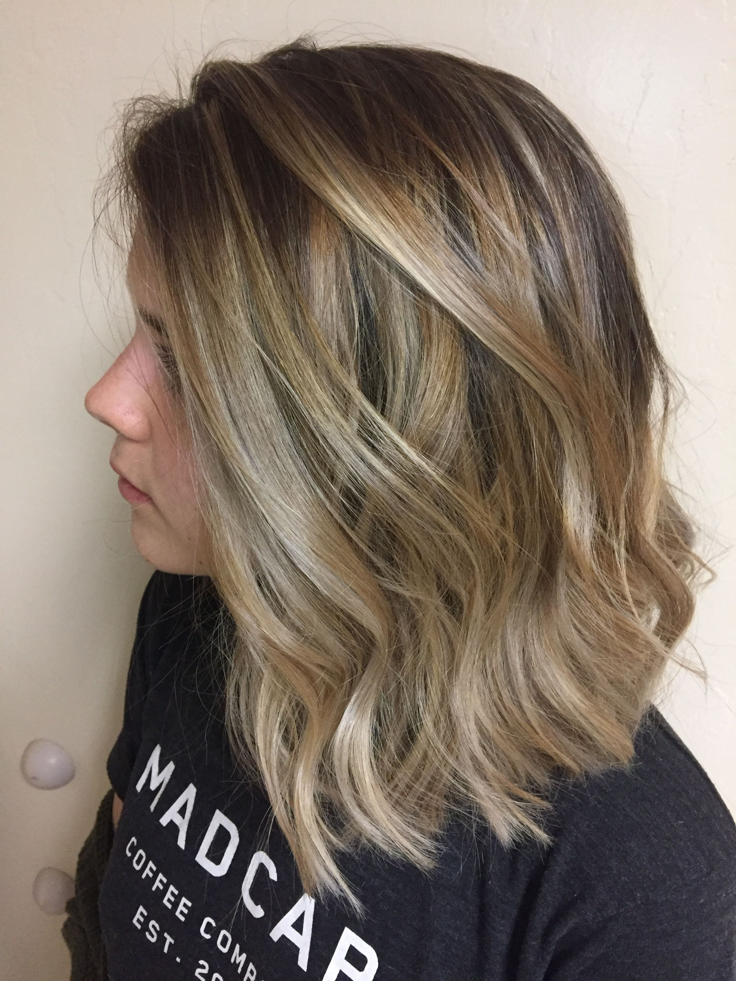 Natural blonde balayage ombré lob hairstyle