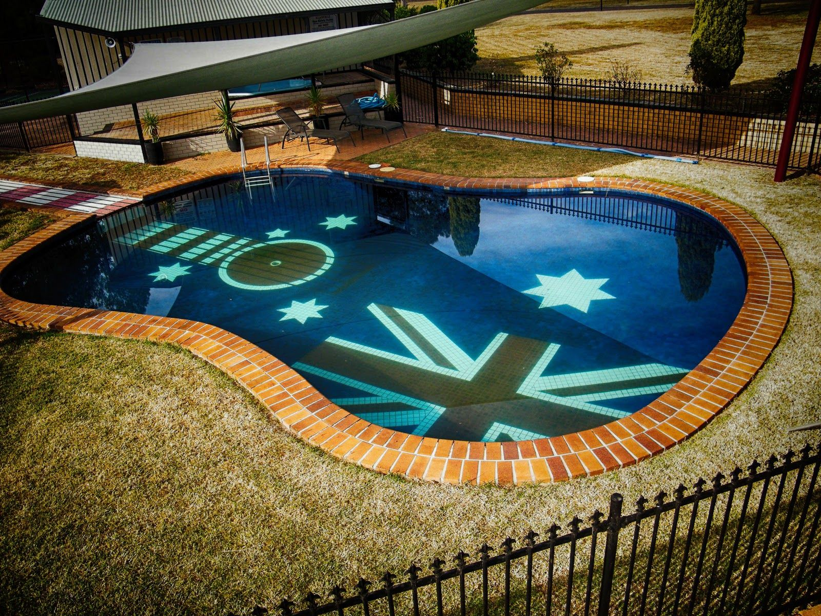 exterior designs, awesome guitar shaped swimming pool with tree