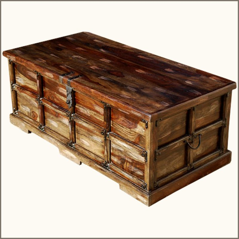 Return To The Romance Of Yesteryear With Our Appalachian Rustic Steamer Style  Coffee Table Chest.