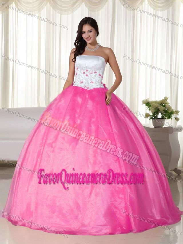 2014 White and Pink Ball Gown Strapless Quinceanera Dresses with ...