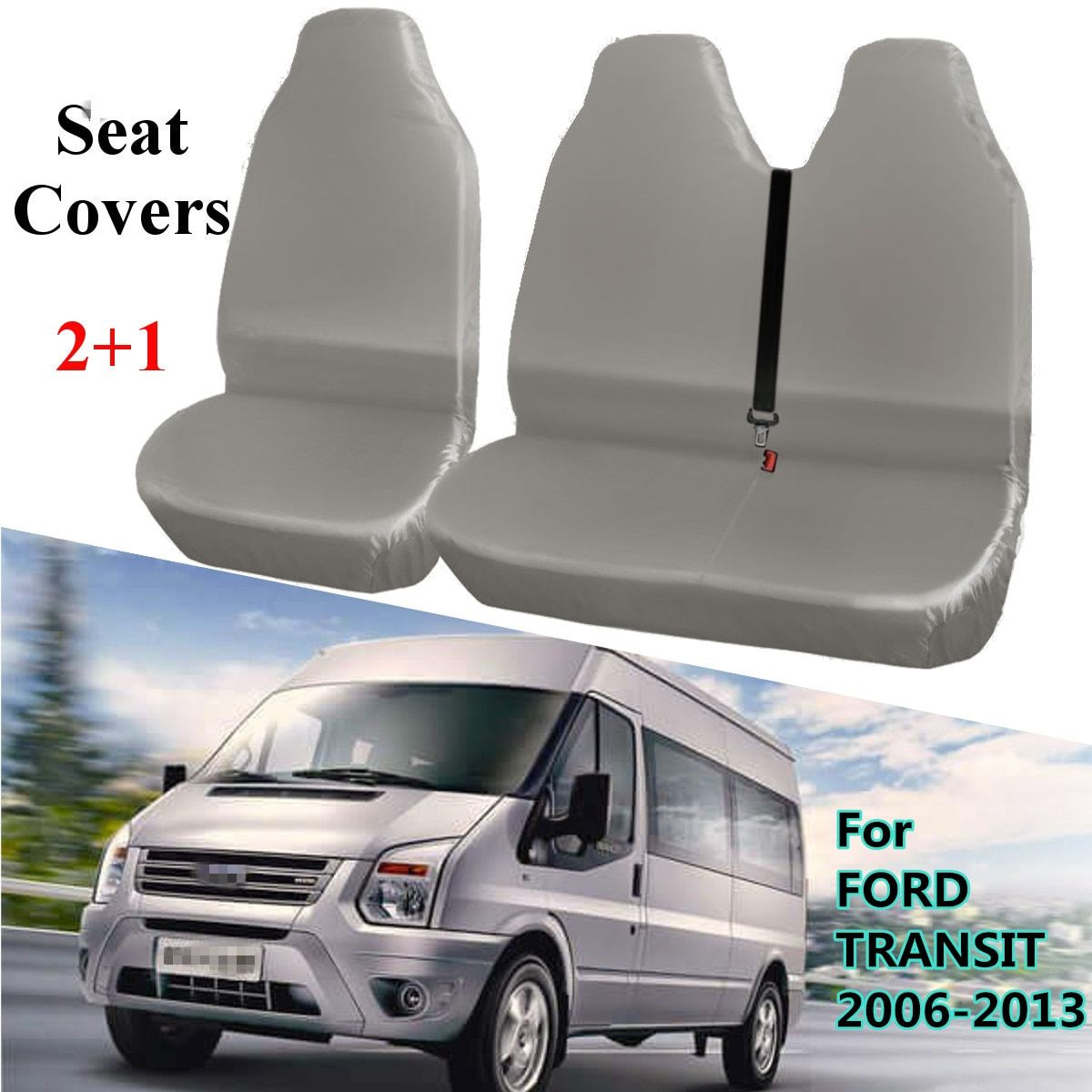 2 1 Gray Universal Waterproof Van Automobiles Seat Covers Protector For Ford Transit 2006 2013 Review Ford Transit Van Seat Covers Seat Covers