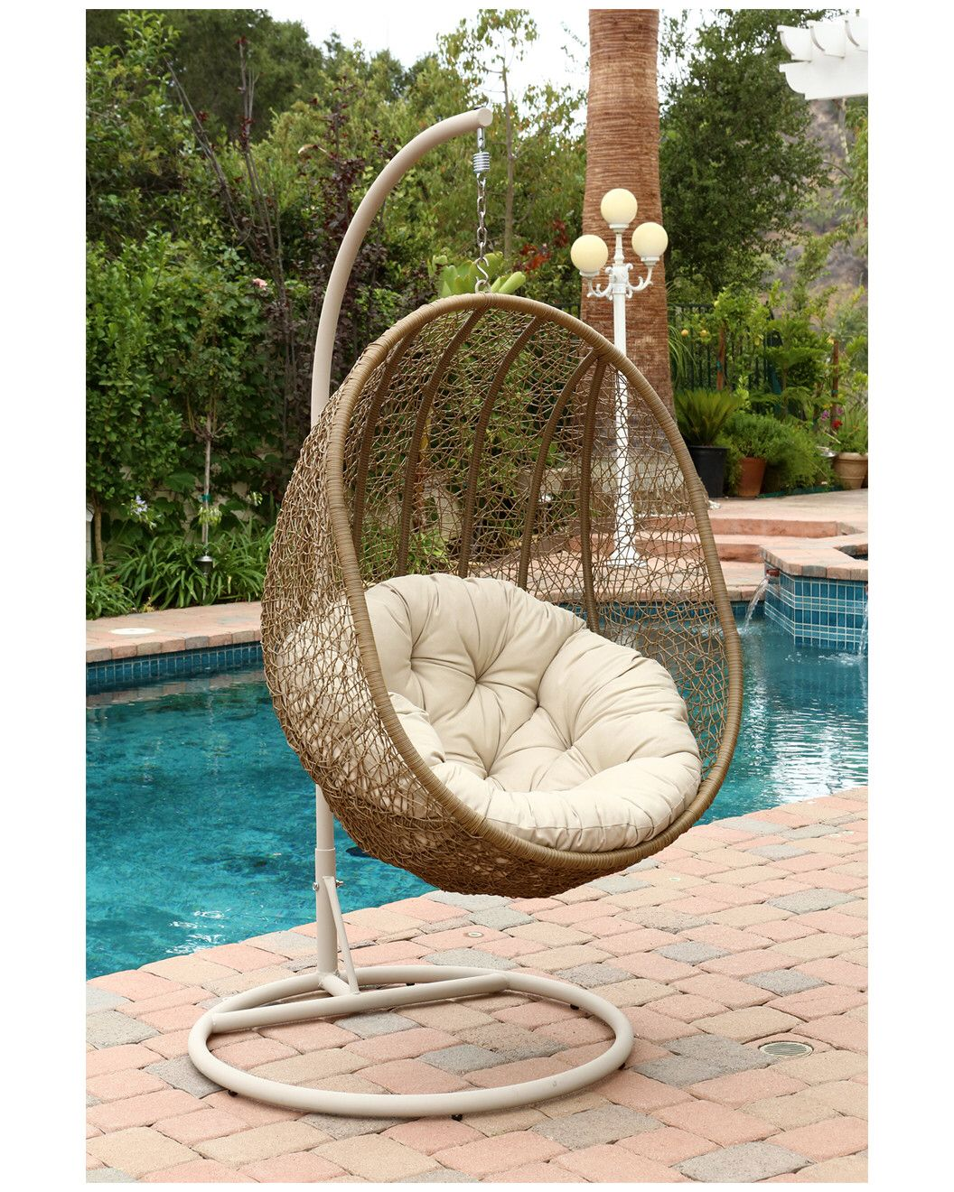 You need to see this kingston outdoor wicker swing chair on rue la