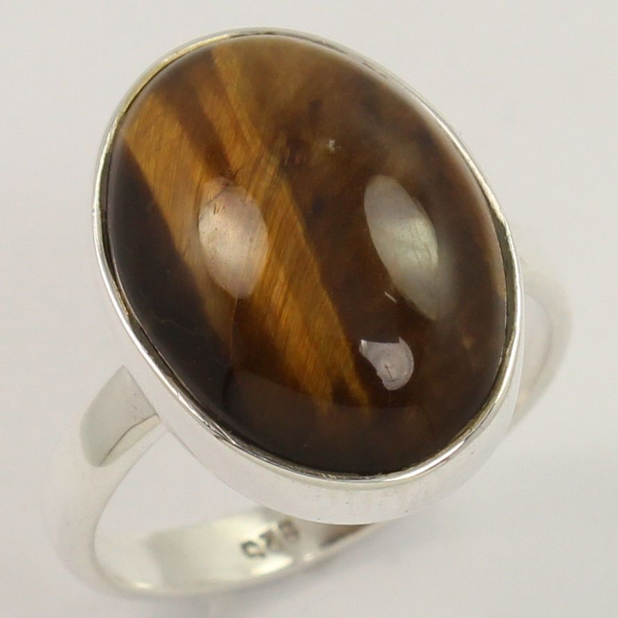 Girls Fashion Ring Size US 7.75 Natural TIGER'S EYE Gemstone 925 Sterling Silver #Unbranded