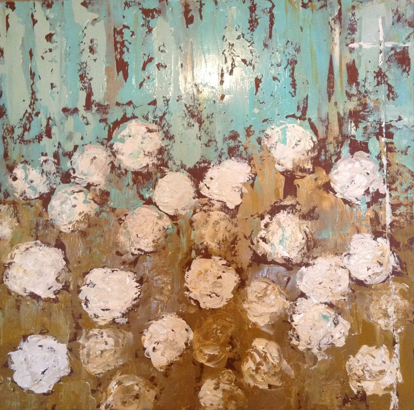 Field Of White Flowers 30x30 Facebooklaurelbrowningart Art
