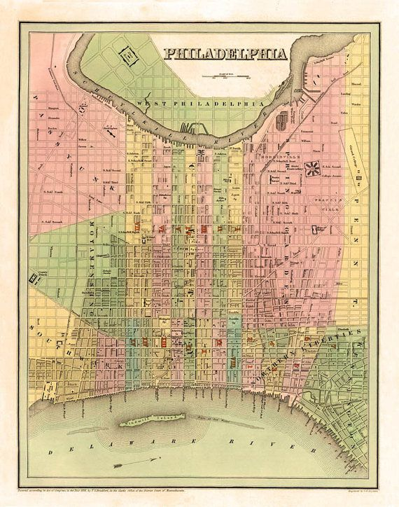 picture regarding Printable Maps of Philadelphia identify Previous map of Philadelphia - Typical town map - Archival giclee