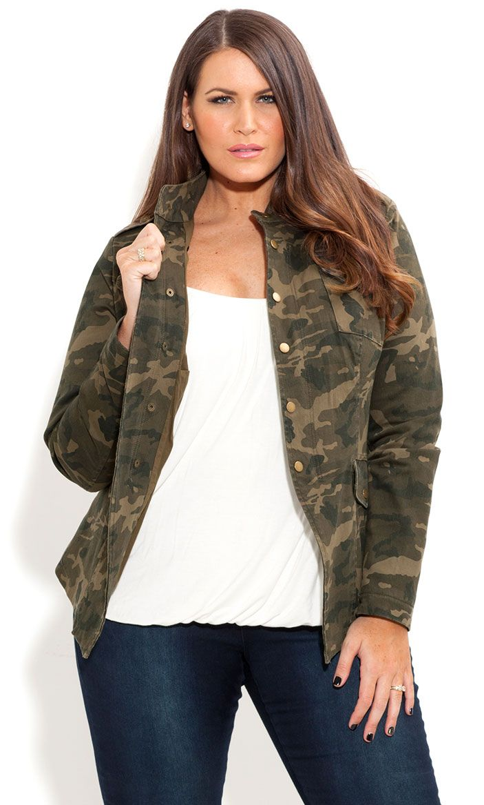 City Chic - COOL CAMO JACKET - Women's plus size fashion