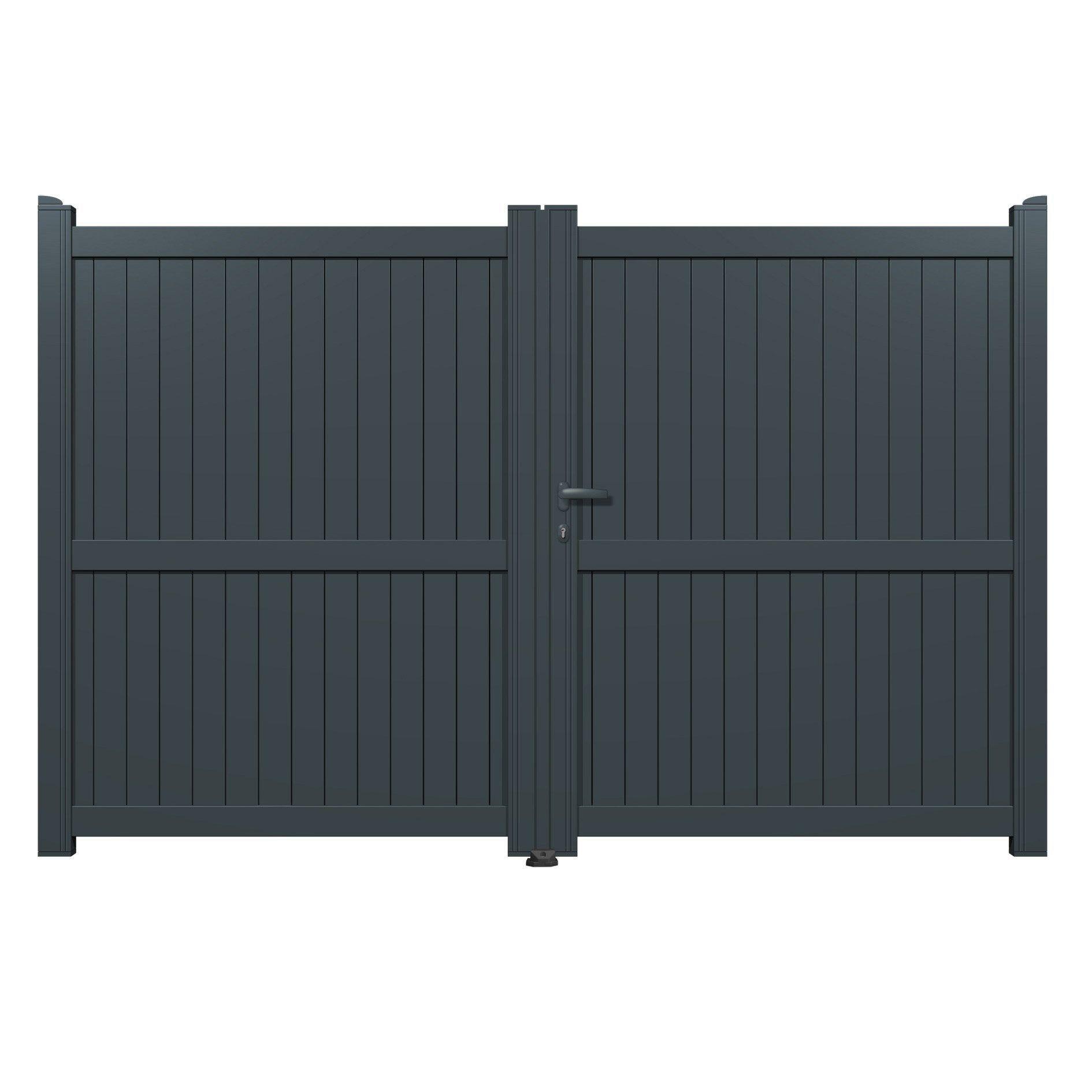 Portail Battant Aluminium Matisse Gris L 300 X H 180 Cm Cloture Pvc Portail Pvc Et Cloture Alu Sur Muret