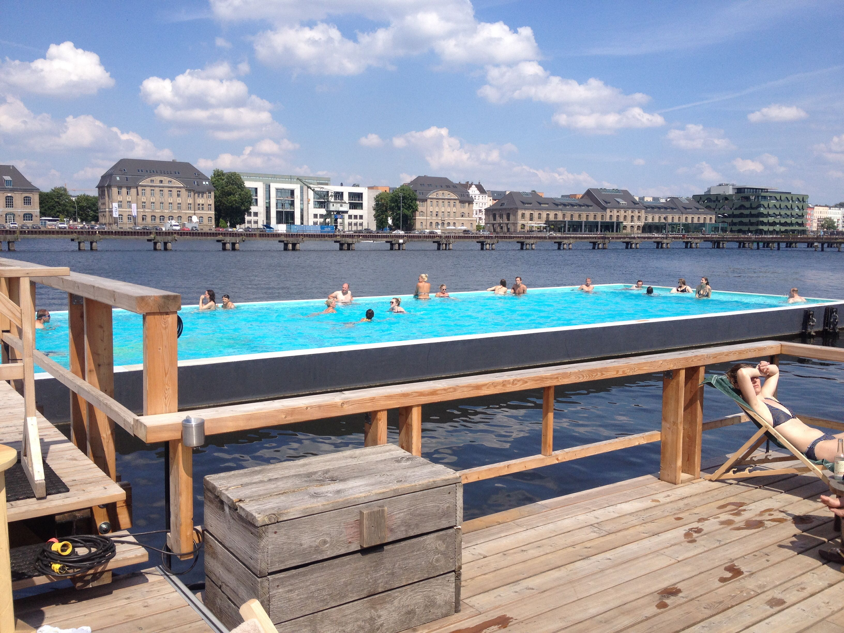 Badeschiff In Berlin  A Shipping Container Turned Pool, Lowered Into The