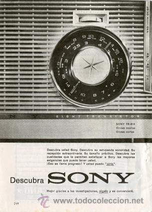 Página Publicidad Original *Radio Transistor SONY TR-814* - Año 1961