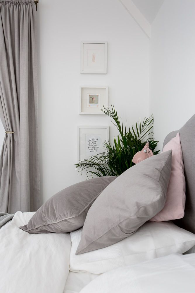 Gray, white & blush bed room.  See even more at the photo link