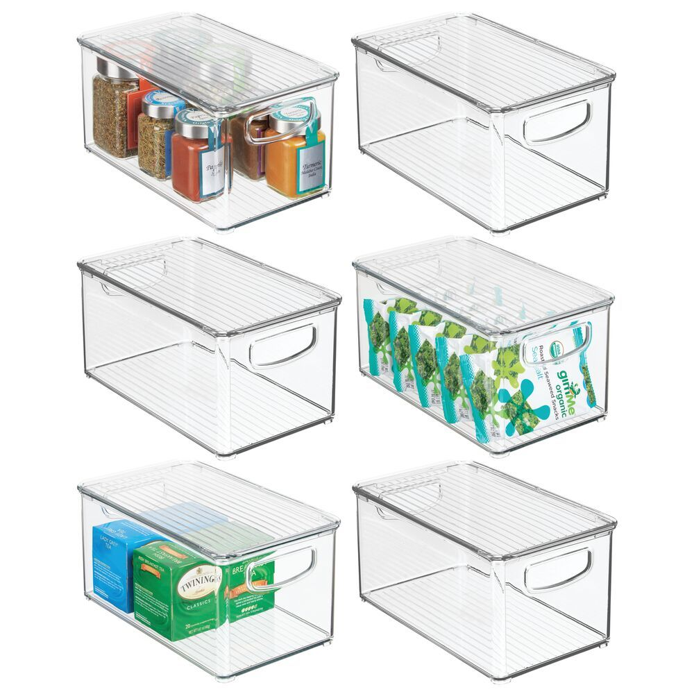 Plastic Kitchen Pantry Food Storage Box With Lid 10 X 6 X 5 Food Storage Boxes Storage Boxes With Lids Storage Bins
