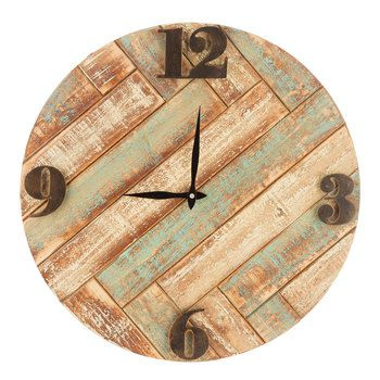 Distressed Herringbone Wood Wall Clock | living room ideas ...