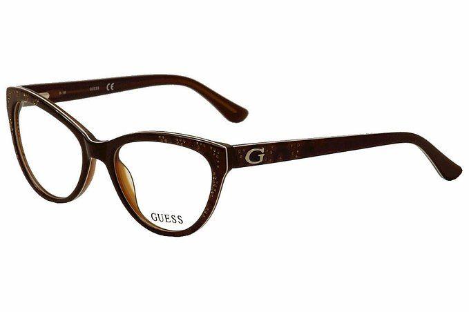 ddc1ea6ddc7 Guess Women s Eyeglasses GU2554 GU 2554 050 Brown Cat Eye Optical Frame 52mm