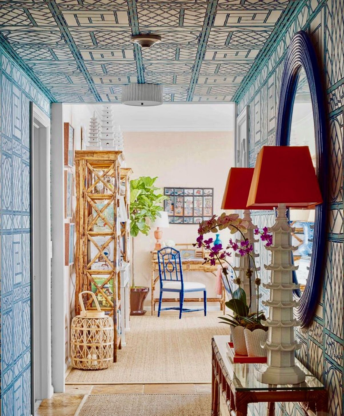 Beach Chic Palm Beach Decor Beach House Tour Trellis Wallpaper