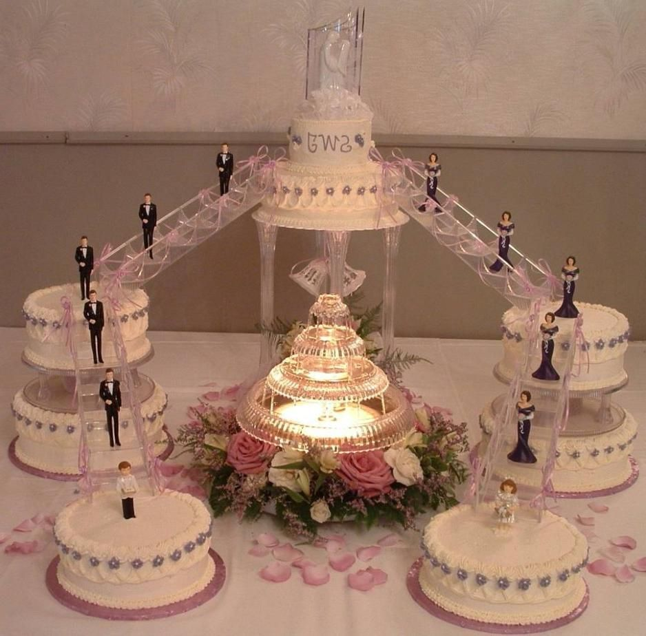 Old Fashioned Tier And Fountain And Stairs Wedding Cakes