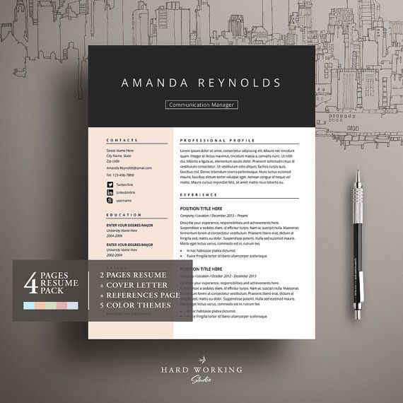 BUY1 GET 1 FREE Resume Template and Cover by HardWorkingStudio ...