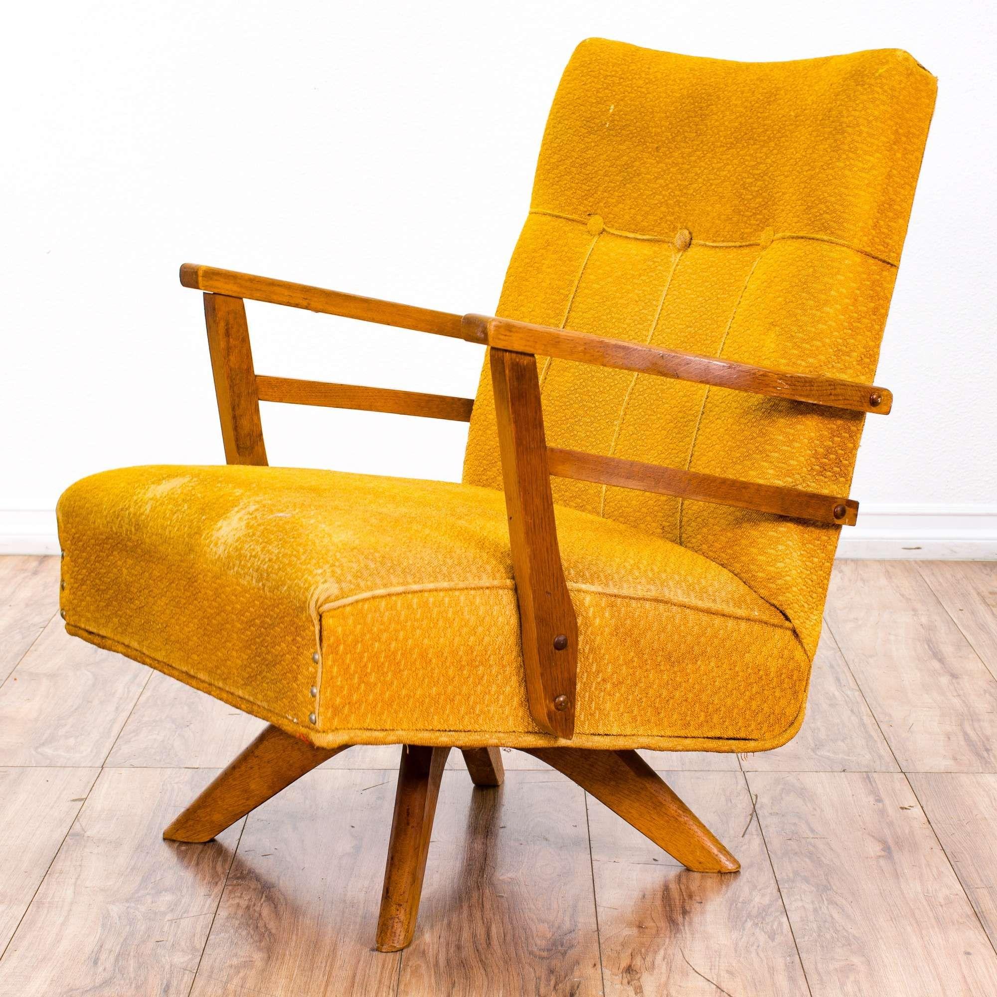 Astonishing Mid Century Modern Yellow Swivel Rocking Chair Loveseat Machost Co Dining Chair Design Ideas Machostcouk