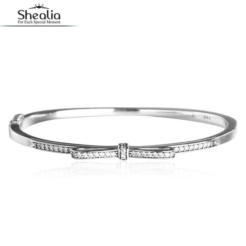 SHEALIA CZ Stone-studded Sparkling Bow Bangles For Women Original 925 Sterling Silver Bangle Valentine Gift Fine Jewelry 2017